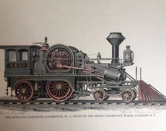 Vintage  Engraving The Fontaine Passenger  Locomotive   hand colored print