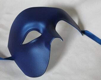 Blue Half Face Phantom Masquerade Mask