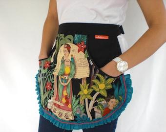 Frida Kahlo Womens Apron Retro Half Apron Sexy Pinup Kitchen Womens Apron Hostess Retro Apron Vintage Inspired enchiladamama Alexander Henry