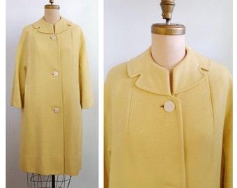 Mellow yellow | 1960s pastel yellow wool coat | 60s spring coat
