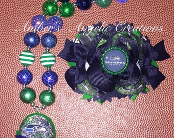Seahawks Inspired Bow With Matching Necklace