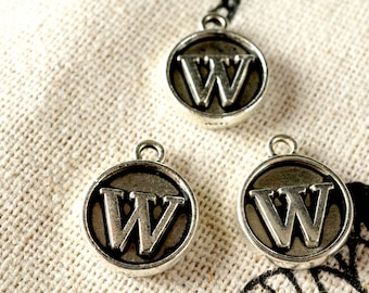 Alphabet letter W charm silver vintage style jewellery supplies