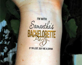 Bachelorette party tattoos temporary tattoos Bachelorette tattoo bridesmaid tattoos custom tattoo