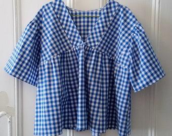 Blue Gingham cotton V-neck Tunic top / Size UK 10-12