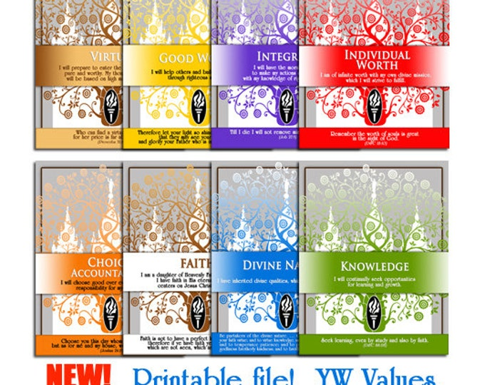 """Printable LDS YW Young Women Values Art Binder Page Dividers. Print 8 1/2""""x 11"""" Great as gifts or craft activities. Includes all 8 files."""