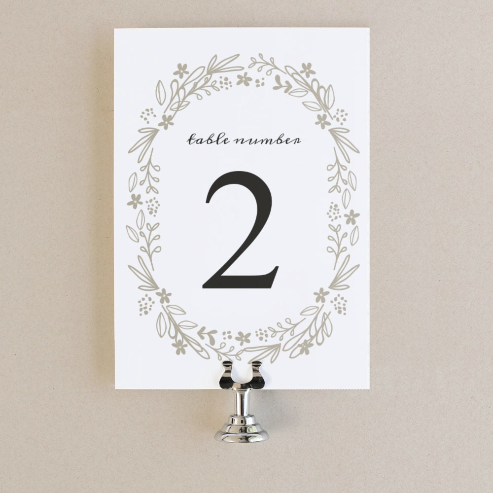 Printable Table Numbers Table Number Template Floral Wreath - 5x7 card template for word