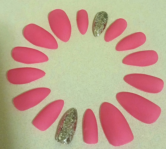 Hot Pink Matte Stiletto Nails Acrylic Artificial