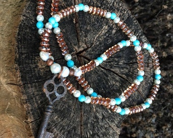 Skeleton Key Necklace on Beautiful Beads