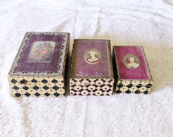 Rare Antique 19th C. Wallpaper Box Set of 3 - 1800's Graduated Nesting Wallpaper Boxes - Lady Portraits and Flowers - Wood Boxes
