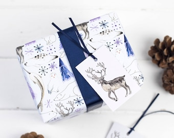 Christmas Arctic Animals Wrapping Paper set - Christmas Reindeer - Stag Gift Wrap - Polar Bear - Snowy Owl - Caribou - Christmas gift wrap