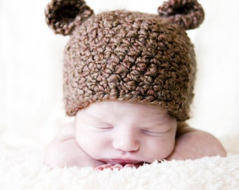 Brown Bear Hat for NEWBORN Baby  Perfect for Photographers Prop - FREE SHIPPING