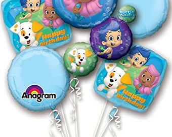 Bubble Guppies Happy Birthday Balloon Bouquet Party Bubble Guppies, Bubble Guppies Birthday Party, Bubble Guppies Birthday Balloons