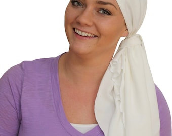 Jessica Pre-Tied Head Scarf - Women's Cancer Headwear, Chemo Scarf, Alopecia Hat, Head Wrap, Head Cover for Hair Loss - White