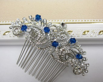 Something blue bridal hair comb Something blue wedding headpiece something blue bridal hair accessory wedding hair comb bridal hair jewelry