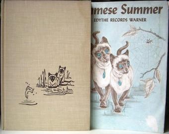 Siamese Summer, Edythe Records Warner, Hardback Dust Jacket 1964, Siamese Cats, Vintage Childrens Book, Family Pet
