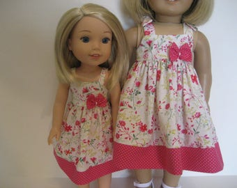 14.5 and 18 Inch Doll Clothes - Matching Hot Pink Sundresses made to fit dolls such as the American Girl and Wellie Wishers doll clothes