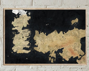 Westeros Map,Print, Game Of Thrones Map,  Map Of Essos, Game Of Thrones,Wall Art, Home Decor, Seven Kingdoms Map, Fantasy Maps, Ice And Fire