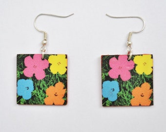 Earrings with ( Andy Warhol ) Flowers  Picture