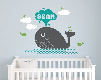 Whale Name Wall Decal: Personalized Ocean Whale Baby Nursery, Kids Sea Life Wall Stickers, Under-the-Sea Nautical Room Decor