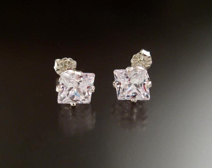 Cubic Zirconia White Square Post Earrings Sterling Silver very large scissors cut Square Diamond substitute Cubic Zirconium
