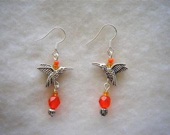 Czech glass bead and Tibetan silver Hummingbird earrings on hooks