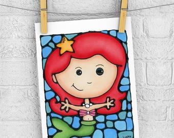 Mermaid 5 x 7 Print - Discontinued 50% OFF - Baby Girl Bedroom - Little Mermaid - Ocean Nursery Decor - Nautical Print - Under the Sea Art