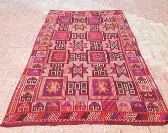 """6'11 """" x 4'1"""" embroidered  Vintage Turkish kilim rug, area rug, kilim rug, kelim, vintage rug, rug, rustic rug, rugs, rug, purple rug, 115"""