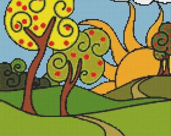 Summer Cross Stitch Chart, The Sun is Rising Cross Stitch Pattern PDF, Scenery Cross Stitch, Embroidery Chart