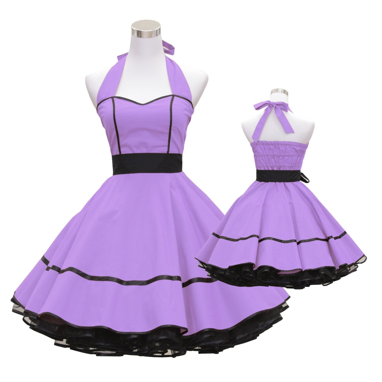 años 50 vintage vestido falda vestido lila negro diseño personalizado hecho Retro