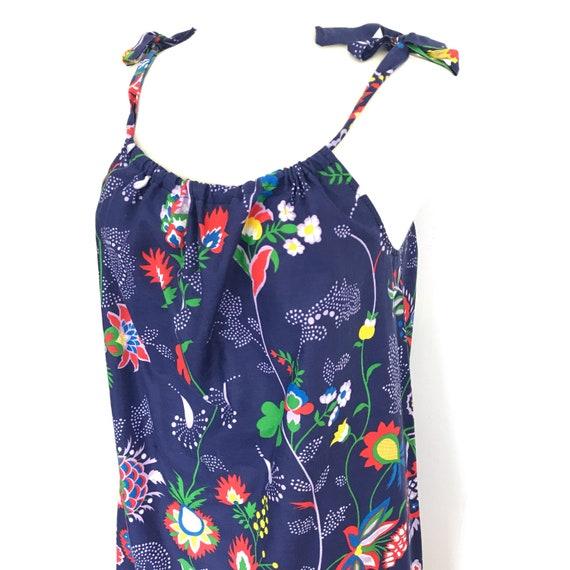vintage dress, 70s dress, border print, flowery, hippie, midi, cover up, 1970s dress, flower power, psychedelic, tie straps, sundress, 14