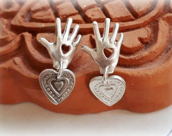 Sterling Silver Love Hands Jewelry - Love Hand Sterling Silver Earrings - Hand Sign Love Sterling Silver - Love Promise Romantic Hands Heart