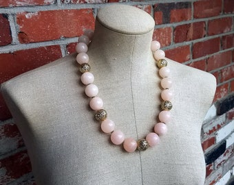 Breaking Dawn- Pink Morganite Quartz Beaded Statement Necklace