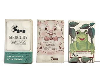 1pc Vintage Mercury Savings and Loan bank Cardboard Coin Folder Saver c1970s, Piggy, Frog or Promotional