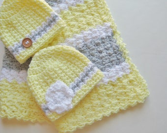 READY TO SHIP Yellow & Gray Crochet Baby Blanket Gift Set, Gender Neutral Baby Shower Gift, Stroller - Travel Blanket, Crib Size Available