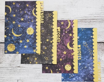 Planner Dividers - Custom Tabs -  Galaxy Scalloped Dividers - Planner Accessory - Pocket, Field Notes, Personal, B6 Slim, Standard, A5