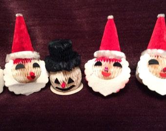 Vintage Honeycomb Santa and Snowman Ornament Lot of 5