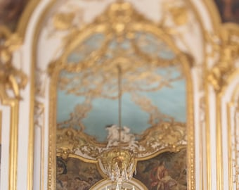 Paris Photograph - Gilt and Blue Chamber, Elegant Chandelier Fine Art Photography, Paris Art Print, French Home Decor, Large Wall Art