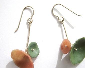 Pink and Green Earrings, Modern Jewelry, Floral Earrings, Abstract Earrings, Lightweight California Poppy Earrings, Sterling Silver Earrings