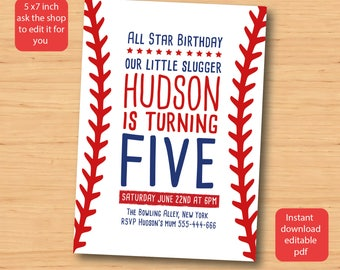 Baseball birthday invitation - SELF EDITABLE PDF - 5 x 7 inch Customisable Baseball Printable Birthday Party Invite - Instant Download