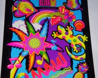 Vintage Lisa Frank Sticker Maui Gecko Tropical Kawaii Funky Surf Large Sticker Full Sheet