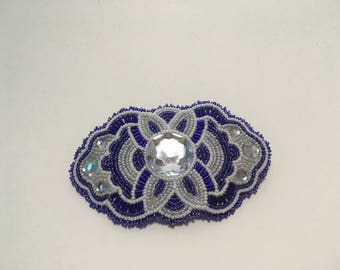 Purple and White Beaded Barrette