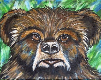 Bear Painting, Original Acrylic Painting on Stretched Canvas, Handpainted Wildlife Wall Decor, Impressionism Animal Lover Art, gift idea