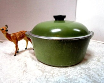 Vintage Club Pan w/ Lid, Green Dutch Oven, 3 Quart, Soup Stock Pot, Clean, Cooking, Heavy Duty Cookware, Camping Pot Classic 2 piece, Oven