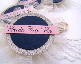 Bridal Shower Corsage, Bride to Be Pin, Bride Badge, Custom Name Pins, Navy Blush Gold, Wedding Shower Pins, Wedding Party Badges