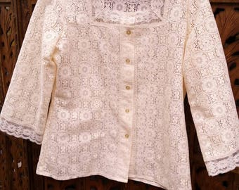 ViNtaGe 70s cream lace blouse Button Down Boho Bohemian Festival Tumbleweeds Medium white boho