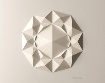 Geometric Wall Decoration - Art Relief - Folded Paper Crystal Mosaic - Modern Geometric Abstract Sculpture - Created by Kubo Novak -DodecaF1