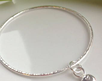 Silver bangle with heart charm, stacking bangle, nugget heart charm.
