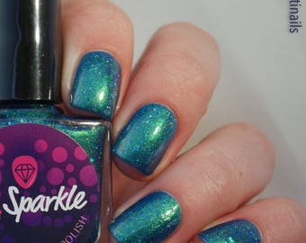 Checking Out Aurora Borealis~Fall 2017 Collection Indie Nail Polish Shimmer Crelly Blue Teal Holo 10ML
