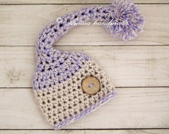 Newborn stocking hat, Crochet long tail hat for newborn girl, Made to order, Great as newborn photo prop
