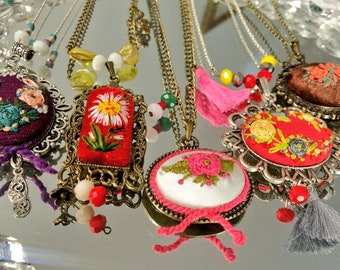Necklace embroidered necklace embroidery jewelry-handmade-luxury